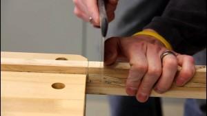 cutting a notch in wood